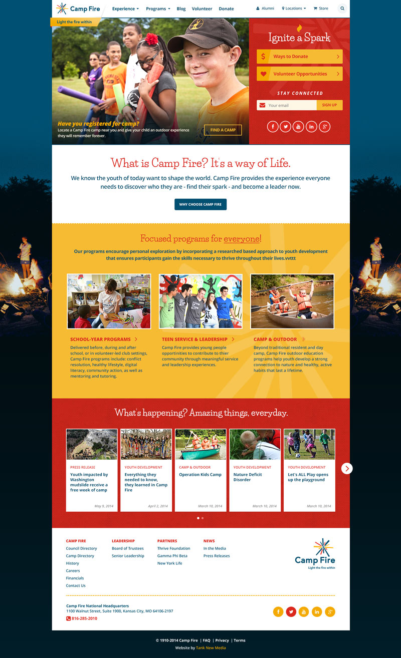 Camp Fire National Homepage Redesign
